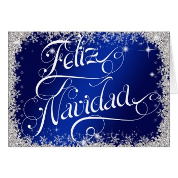 Royal Blue Feliz Navidad Typography PERSONALIZED Card