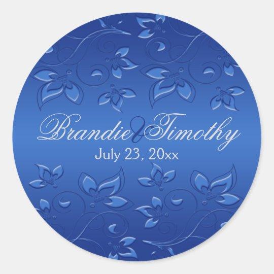 """Royal Blue Floral 1.5"""" Round Wedding Sticker"""