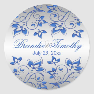 Royal Blue Floral and Silver 1 5 Round Sticker