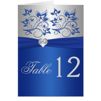 Royal Blue Floral and Silver Heart Table Number card