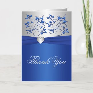 Royal Blue Floral and Silver Heart Thank You Card card