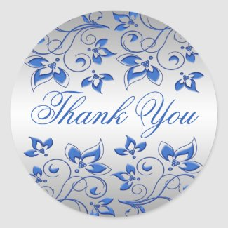 Royal Blue Floral and Silver Thank You Sticker sticker