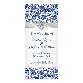 Royal blue floral swirls on silver Wedding Program