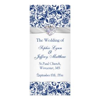 Royal blue floral swirls on silver Wedding Program Customized Rack Card