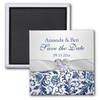 Royal blue floral swirls Save the Date Magnet