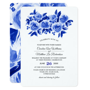 Rlv Zcache Com Royal Blue Floral Watercolor Weddin