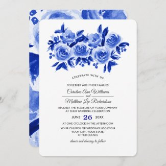 Royal Blue Watercolor Wedding Invitations, Roses Floral