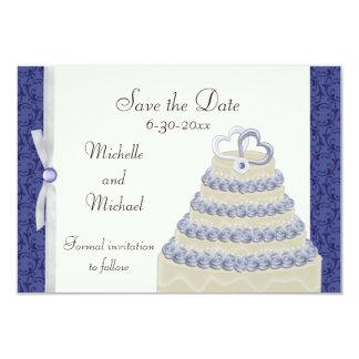 Royal Blue Florentine Save the Date 3.5x5 Paper Invitation Card