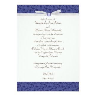 "Royal Blue Florentine Wedding Invitation 5"" X 7"" Invitation Card"