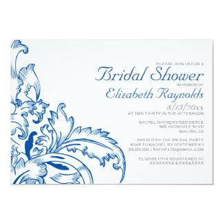 Royal Blue Flourish Bridal Shower Invitations