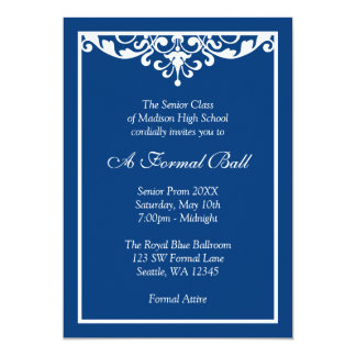 Royal ball invitations announcements zazzle royal blue flourish formal prom dance ball card stopboris Image collections