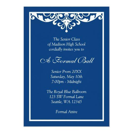 Royal Blue Flourish Formal Prom Dance Ball Card