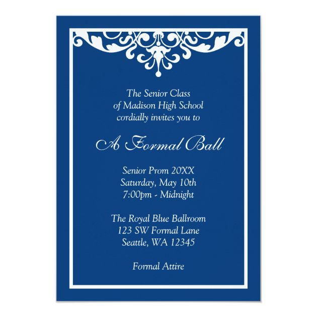 Royal Blue Flourish Formal Prom Dance Ball Card Zazzlecom