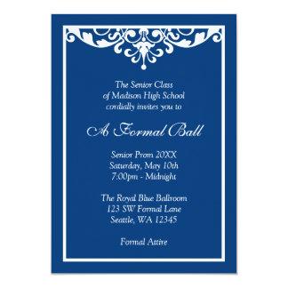 "Royal Blue Flourish Formal Prom Dance Ball 5"" X 7"" Invitation Card"