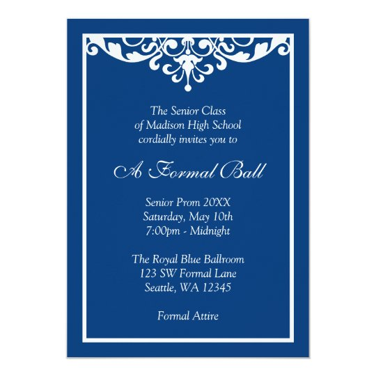 Royal Blue Flourish Formal Prom Dance Ball Invitation Zazzle Com