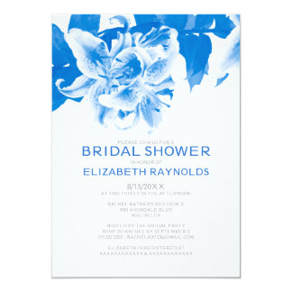 Royal Blue Flower Bridal Shower Invitations Custom Announcement
