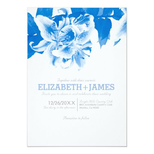 Royal blue flower wedding invitations zazzle for Royal blue and coral wedding invitations