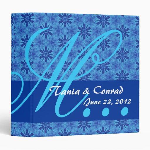 Royal Blue Flowers Monogram Wedding Planner B006 3 Ring Binder