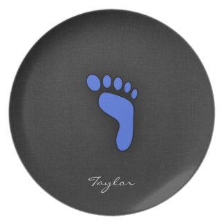 Royal Blue Footprint Party Plates