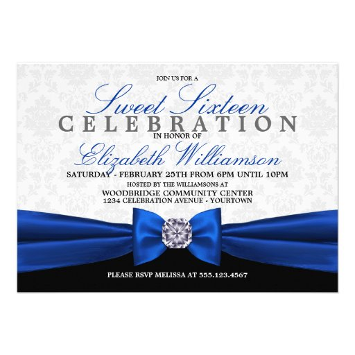 "Royal Blue Formal Elegant Sweet 16 Invitation 5"" X 7 ..."
