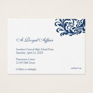 Royal blue formal prom bid custom admission ticket