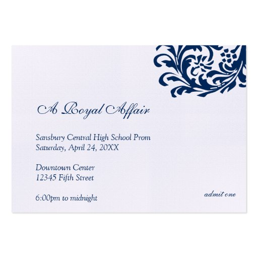 Royal blue formal prom bid custom admission ticket business cards