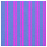 [ Thumbnail: Royal Blue & Fuchsia Colored Stripes Fabric ]