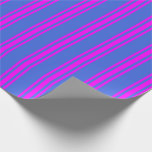 [ Thumbnail: Royal Blue & Fuchsia Colored Stripes Wrapping Paper ]