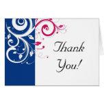 Royal Blue/Fuchsia Swirl Thank You Greeting Card