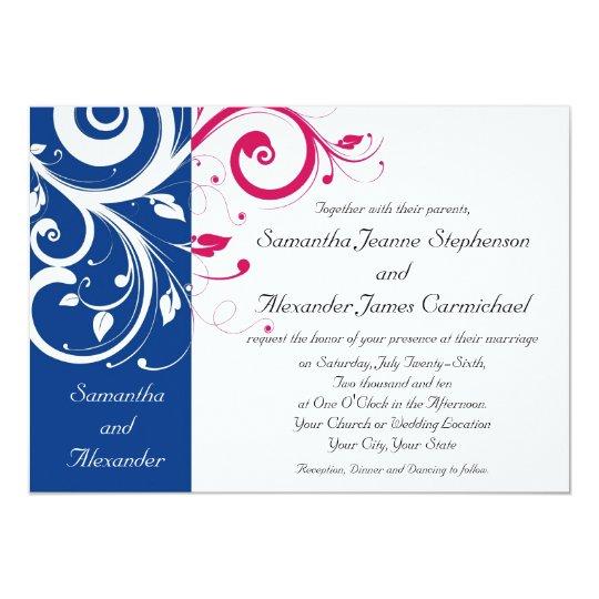 Royal Blue Fuchsia Swirl Wedding Invitation