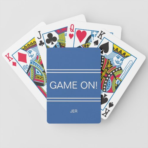 Royal Blue GAME ON Quote Custom Monogram Initials Bicycle Playing Cards