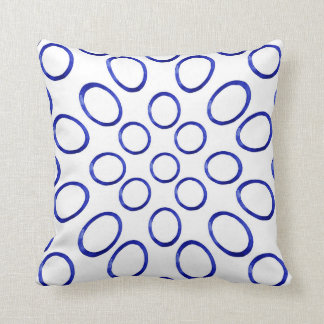 Royal Blue Geometric Watercolor Throw Pillow