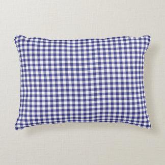 Royal Blue Gingham Pattern Accent Pillow