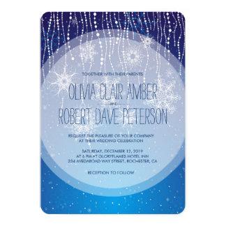 Royal Blue Glam Snowflakes Winter Wedding Invites
