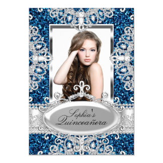 Royal Blue Glitter & Diamond Glamour Quinceanera Card
