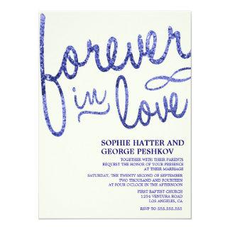 Royal Blue Glitter Romantic Wedding Invitations