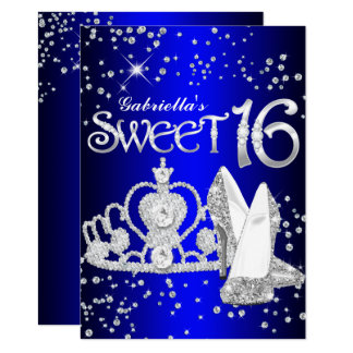 Royal Blue Glitter Tiara & Heels Sweet 16 Invite