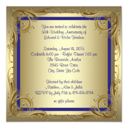 Royal Blue Gold 50th Wedding Anniversary Party Card ...