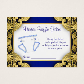 Royal Blue Gold Baby Diaper Raffle Ticket