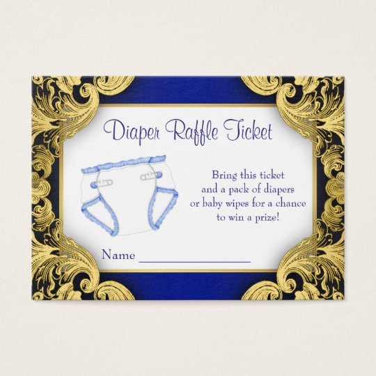 Royal Blue Gold Baby Diaper Raffle Ticket