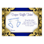 Royal Blue Gold Baby Diaper Raffle Ticket Large Business Card