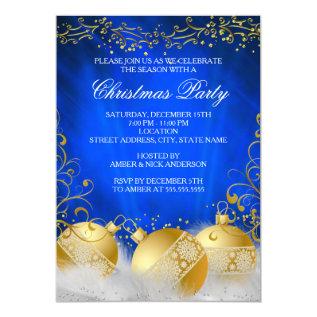Royal Blue Gold Bauble White Christmas Party Card at Zazzle