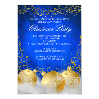 Royal Blue Gold Bauble White Christmas Party Card