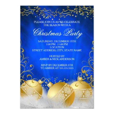 Christmas Themed Royal Blue Gold Bauble White Christmas Party Card