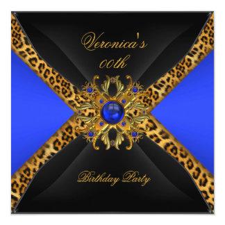 Royal Blue Gold Black Leopard Jewel Birthday Party Card