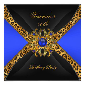 Royal Blue Gold Black Leopard Jewel Birthday Party 5.25x5.25 Square Paper Invitation Card