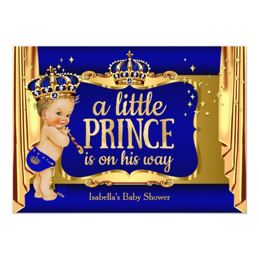 royal blue gold boy prince baby shower blonde card zazzle