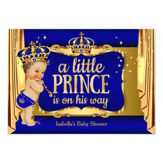 Royal Blue Gold Boy Prince Baby Shower Brunette Card
