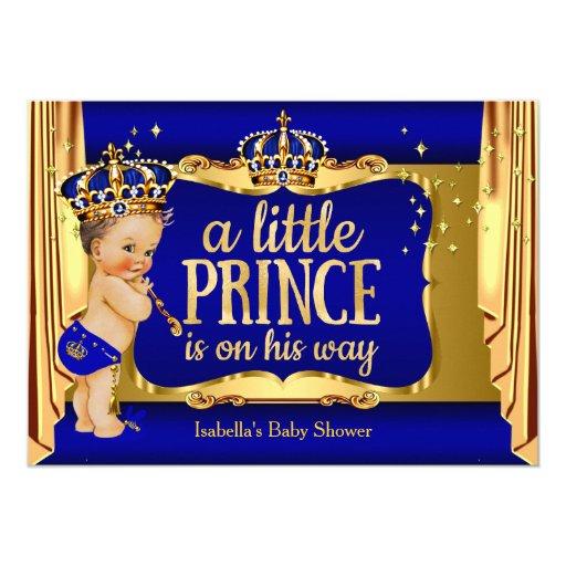 Royal Blue Gold Boy Prince Baby Shower Brunette Card   Zazzle