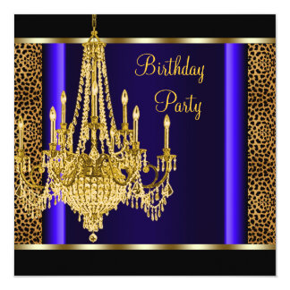 Royal Blue Gold Chandelier Leopard Birthday Party Card